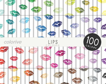 Colored Lips digital paper 100 rainbow colors lips kiss valentine kisses background bright pastel printable scrapbook papers