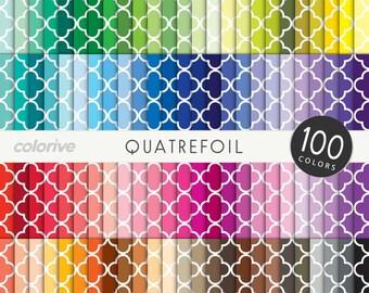 Quatrefoil digital paper 100 rainbow colors classic moroccan background bright pastel printable scrapbook papers