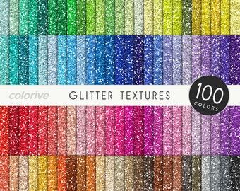 Glitter digital paper 100 rainbow colors seamless glitter textures metallic pink bright pastel printable scrapbook papers