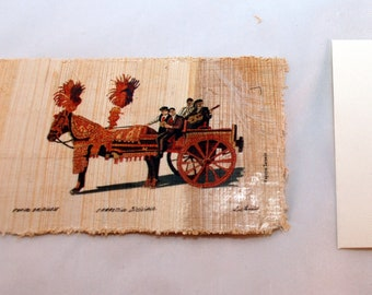 "Traditional Sicilian Papyrus Postcard and Envelope ""Sicilian Chariot"""