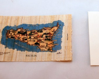 "Traditional Sicilian Papyrus Postcard and Envelope ""Map of Sicily"""