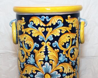 Traditional Sicilian Decorated Umbrella Stand with side rings