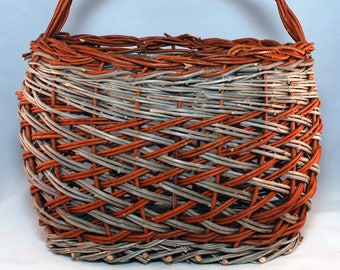 "Traditional Sicilian Willow ""Vimini"" herringbone knitting basket"