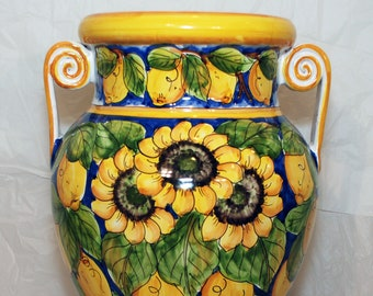 Traditional Sicilian Decorated Sunflowers Umbrella Stand with handles