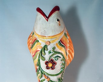 Traditional Sicilian Baroque Vase - Fish shape