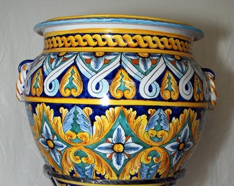 "Sicilian Decorative Vase ""Giara"" with Stand"