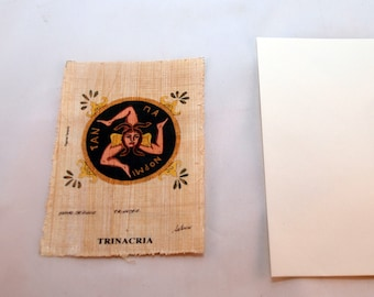 "Traditional Sicilian Papyrus Postcard and Envelope ""Trinacria"""