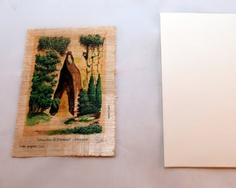 "Traditional Sicilian Papyrus Postcard and Envelope ""Ear of Dionysius"""