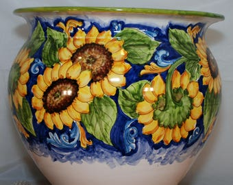 Traditional Sicilian Sunflower Decorated Vase