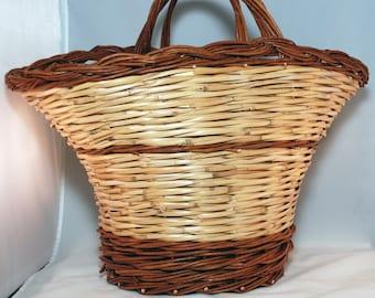 "Traditional Sicilian Willow ""Vimini"" Mushroom Seekers Basket"