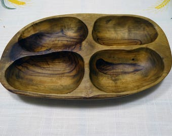 Olive Wood Change Coin and Key Dish/Tray
