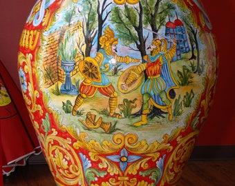 "Sicilian Decorative ""Paladin"" Vase ""Giara"""
