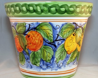 Traditional Sicilian Large Decorated Plant Pot