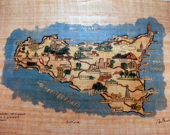 "Traditional Sicilian Papyrus Bookmark ""Map of Sicily"""