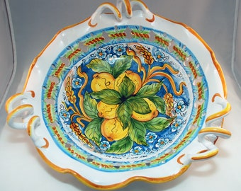 Traditional Sicilian Decorative Lemon Centerpiece with handles
