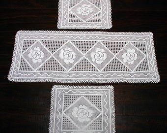 Sicilian Cotton Crochet Table Runner Set