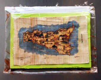 "Traditional Sicilian Papyrus Magnet ""Map of Sicily"""