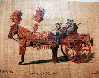 "Traditional Sicilian Papyrus Bookmark ""Sicilian Chariot"""