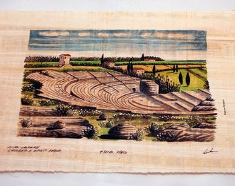 Traditional Sicilian Papyrus, the Greek Theater in Syracuse