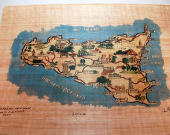 """Traditional Sicilian Papyrus """"Map of Sicily"""""""