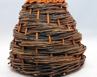 "Traditional Sicilian Willow ""Vimini"" Basket - ""Vaso a spirale"""