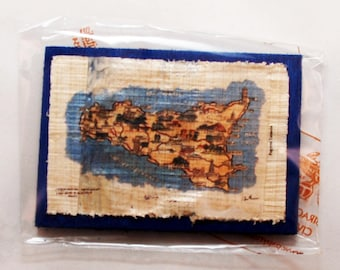 """Traditional Sicilian Papyrus Magnet """"Map of Sicily"""""""