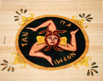 "Traditional Sicilian Papyrus Bookmark ""Trinacria"""