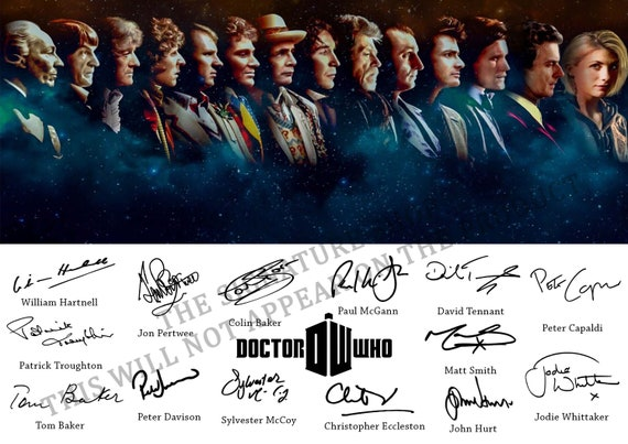 Signed Print of The 14 Doctors Who Played Doctor Who Between 1963-2019 A4