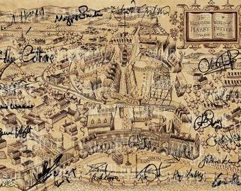 Harry Potter Diagon Alley Signed PP x 22 Cast J.K Rowling Daniel Radcliffe Emma Watson Rupert Grint Helena Bonham Carter Poster Photo A4