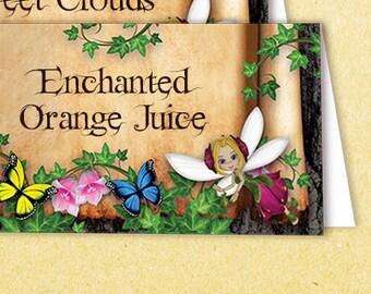 Printable Fairy Food Tent, Printable Fairy Food Labels, Customized Food Tent, Editable Fairy Food Tent, Customized Food Labels, Fairy Party