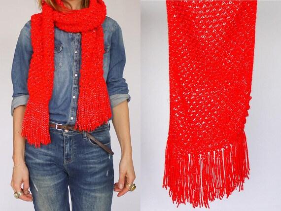 Vintage Hand gemaake Crochet Rood & Zilver Metalli