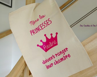 Great bag to toys - bag Princess - Princess with Crown - toys - personalized bag - Princess theme nursery decor