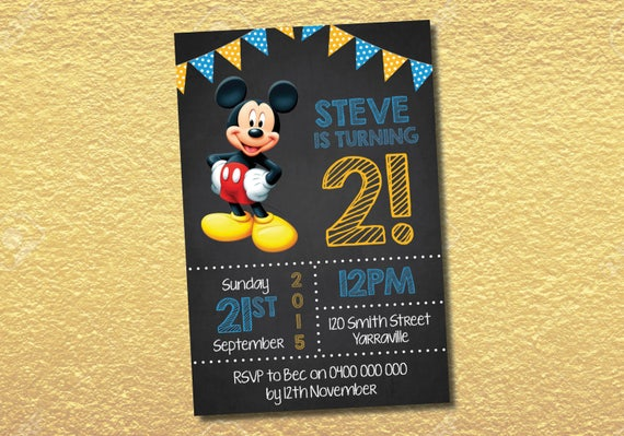 Personalised Mickey Mouse Birthday Party Invitation Invites Etsy