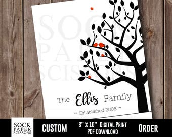 Personalized Family Tree Digital Download, Custom Family Tree, Family Name Print, Family Tree With Birds, Custom Anniversary Gift Sku-CHO101