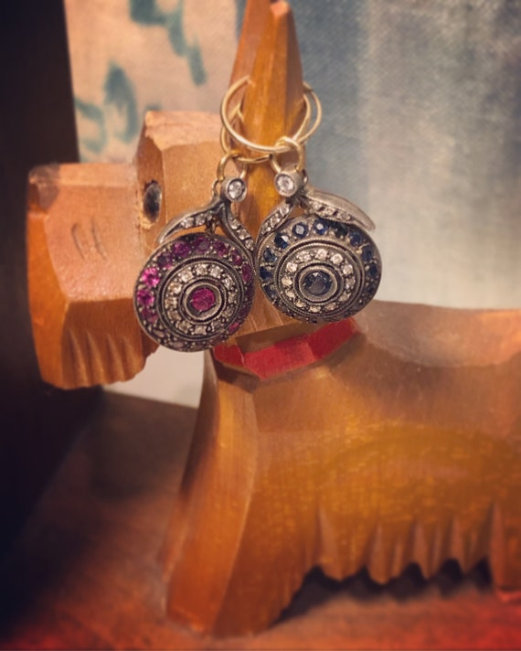 Silver and Ruby or Ruby Like stone with Clear Topaz