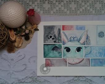 "Original illustration ""Orphan animals"" watercolor"