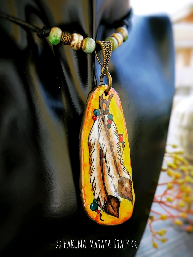 feather pendant painted Indian feathers handmade and original Hakunamatataitaly jewel beautiful hand-painted necklace