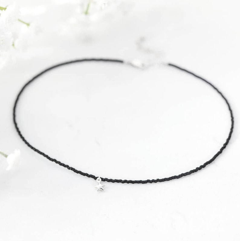 efa917f9f91 Tiny Silver Star Necklace/ Black Choker Necklace/ Small Star Charm/ Best  Friend Gift/ Gift for daughter/ Beaded jewellery/ Delicate necklace