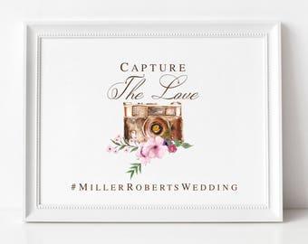 Wedding Hashtag Sign | Instagram Wedding Sign | Rustic Wedding Sign | Social Media Wedding Sign |NO FRAME,Style #2171