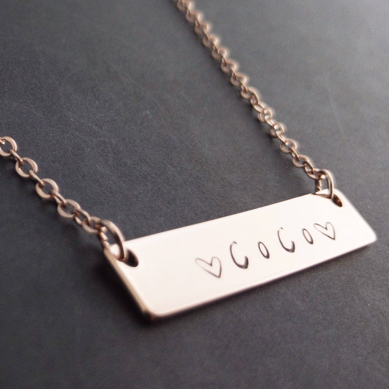 5f762ce6fa517 Name bar necklace ink filled Hand stamped 16k Gold Rose Gold plated/multi  occasions gift for Bridesmaid Wedding Mothers day Mother Daughter