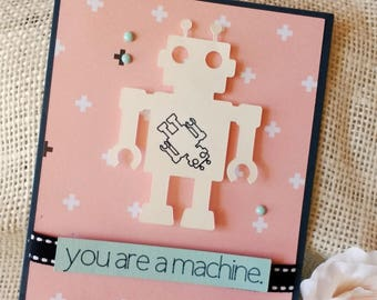 Baby Shower Greeting Card-Pregnant Robot-You Are a Machine