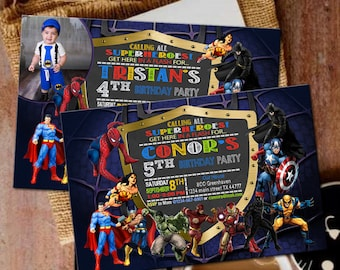 Superhero Invitation Super Hero Party Birthday Invitations