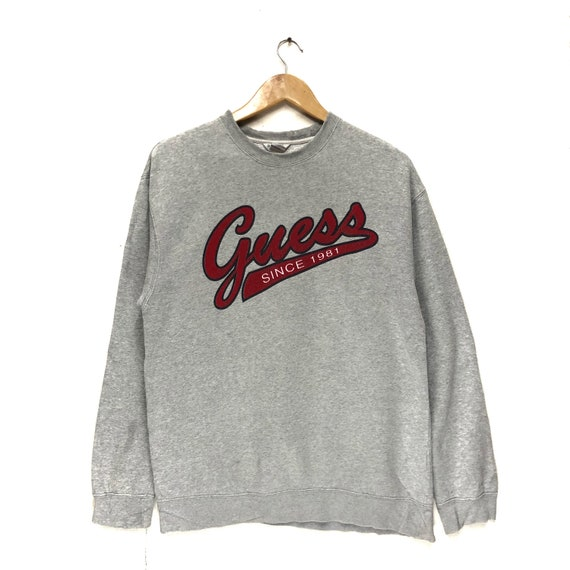 Sudaderas 25 Off Rare Guess Sweatshirt Big Logo Spell Out Embroidered Fashion Designer Size Large Ropa Ropa Sudaderas