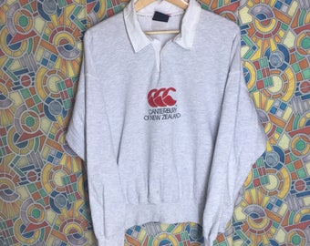 RARE!! vintage canterbury sweatshirt canterbury of new zealand spellout embroidery stripes