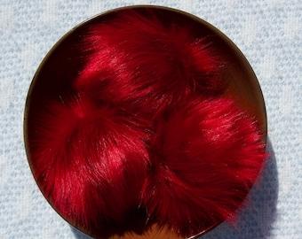 Ruby Faux Fur Pom // Red Faux Fur Pom // Large Faux Fur Pom for Hats // Fluffy // Handmade // Vegan