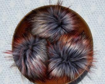 Smoke Bomb Faux Fur Pom // Dark Grey Faux Fur Pom // Autumn // Large Faux Fur Pom for Hat // Red // Green // Fluffy // Handmade // Vegan