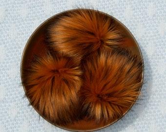 Tabby Faux Fur Pom Pom // Orange Faux Fur Pom // Large Faux Fur Pom for Hat // Fluffy // Handmade // Vegan