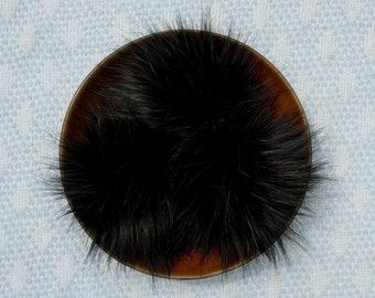 Jet Black Faux Fur Pom Pom // Black Faux Fur Pom // Large Faux Fur Pom for Hats // Fluffy // Handmade // Vegan