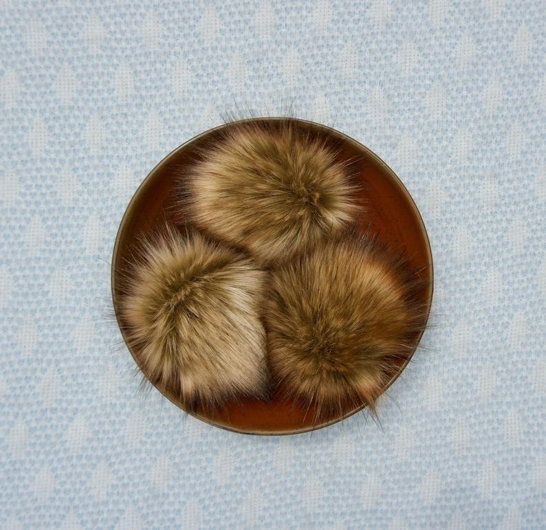 Desert Fox Faux Fur Pom Pom // Brown Faux Fur Pom // Tan Faux image 0