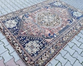 Terrific Turkish Oriental Handknotted 8 39 3 quot x5 39 9 quot Antique Oushak Rug,Mid Century Modern One of A kind Square Large Vintage Rug,Persian Rug